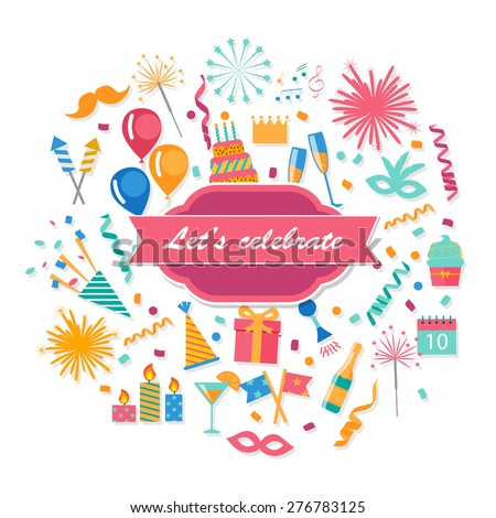 Party and celebration background with event design elements, vector illustration. Greeting card includes: balloons, cake, gift, fireworks, sparkler, cupcake, drinks, flags, streamers - stock vector