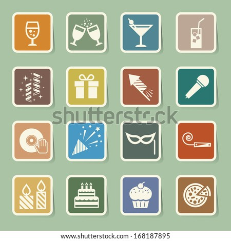 Party and Celebration icon set. Illustration eps10 - stock vector