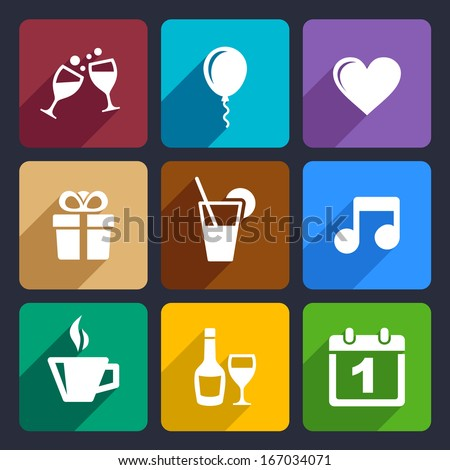 Party and Celebration icons set for Web and Mobile Applications - stock vector