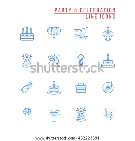 Party and Celebration Outline Icons