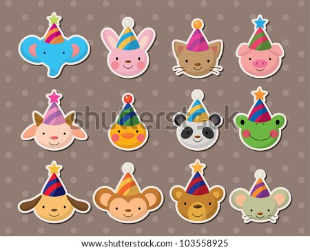party animal face stickers - stock vector
