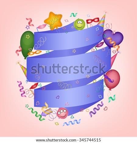 Party background with blue ribbon and festive objects - stock vector