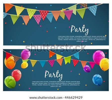 Party Background with Flags Vector Illustration. EPS10 - stock vector