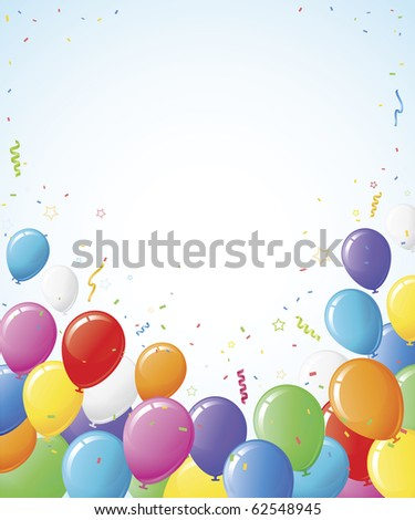 Party balloon background border design. Copy space in center and top. - stock vector