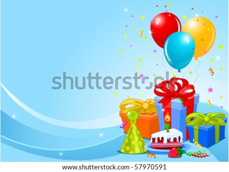 party balloons gifts background gifts balloons stock vector 57970591