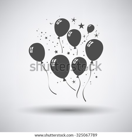 Party balloons and stars icon on gray background with round shadow. Vector illustration. - stock vector