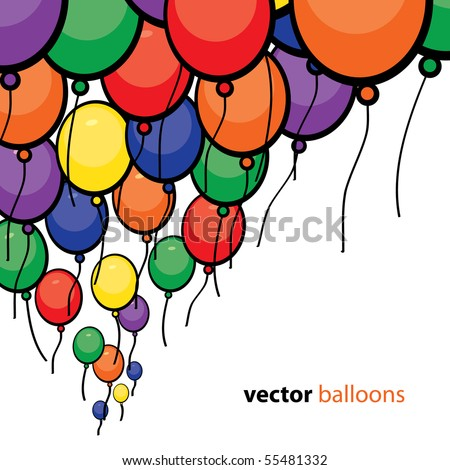 Party Balloons Background - stock vector