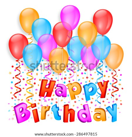 Party balloons composition and confetti holding happy birthday text by strings - stock vector