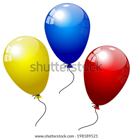 Party balloons of different colors isolated over white background