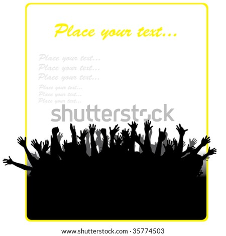 Party banner with different hands - stock vector