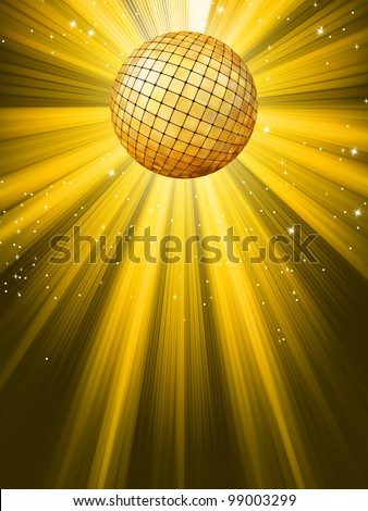 Party Banner with Disco Ball. EPS 8 vector file included - stock vector