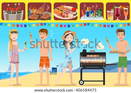 Party Barbecue Of Teenage Tourism And Activities On The Beach Illustrated Guide For People Meeting