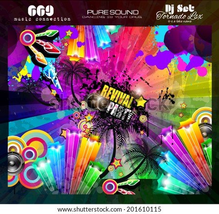 Party Club Flyer for Music event with Explosion of colors. Includes a lot of music themes elements and a lot of space for text. - stock vector