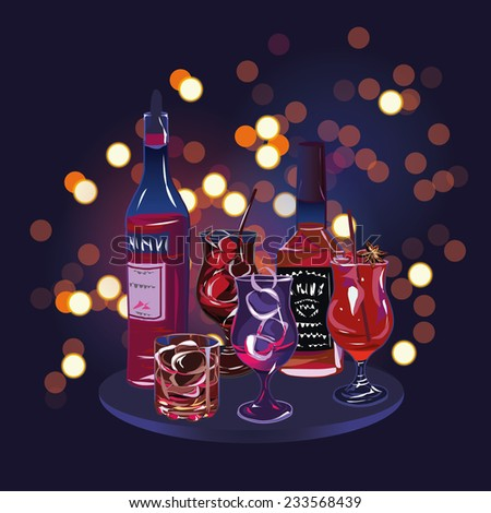 Party cocktail drinks design vector elements - stock vector