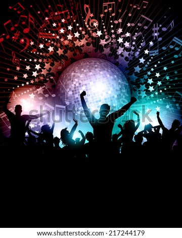 Party crowd background with music notes and mirror ball - stock vector