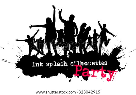 Party crowd silhouettes. Young people have fun. Disco background. - stock vector