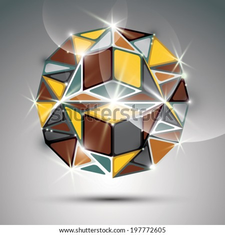 Party 3D gold twinkle globe. Vector fractal dazzling abstract illustration - eps10 jewel. Gala theme. Fantastic kaleidoscope object with geometric figures. - stock vector