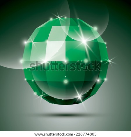 Party 3D green glossy disco ball created from geometric figures. Vector festive illustration - eps10 glossy emerald stone.  - stock vector
