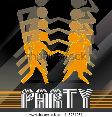 Stock Vector Party Design Over Black Background Vector Illustration on Foxtrot Foot Pattern