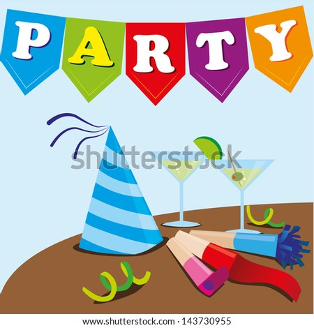 party design over blue background vector illustration - stock vector