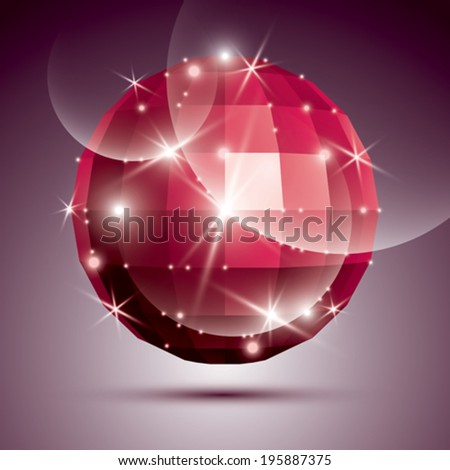 Party dimensional red sparkling disco ball created from geometric figures. Vector festive illustration - eps10 glossy gemstone.  - stock vector