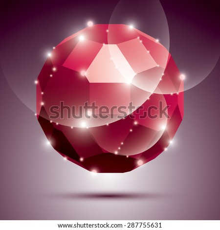 Party dimensional red sparkling disco ball. Vector abstract gala illustration - eps10 treasure. Celebration theme. - stock vector