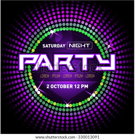Party Disco Club Flyer Template for your Music Nights Event. Ideal for TEchno Music, Hip Hop and House Performance Posters and flyers for Discotheques and night clubs. Vector illustration. - stock vector