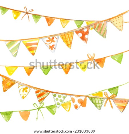 Party flags blue colorful watercolor garlands. Vector watercolor drawings on a white background - stock vector
