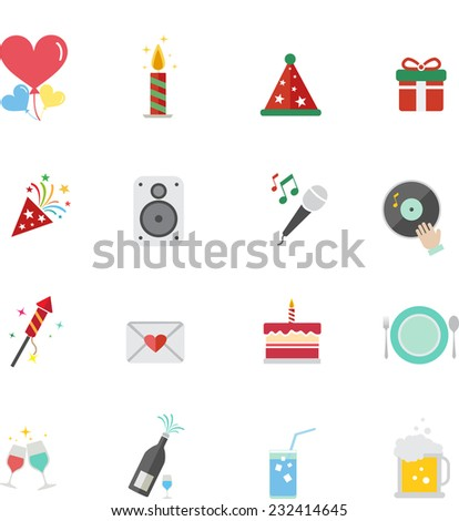 Party flat icons set - stock vector
