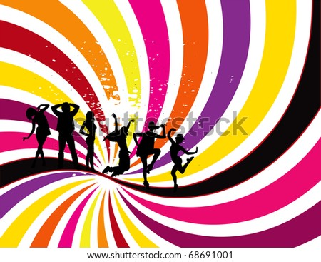 Party Flyer background Illustration vector orange, pink, blue, yellow, black - stock vector