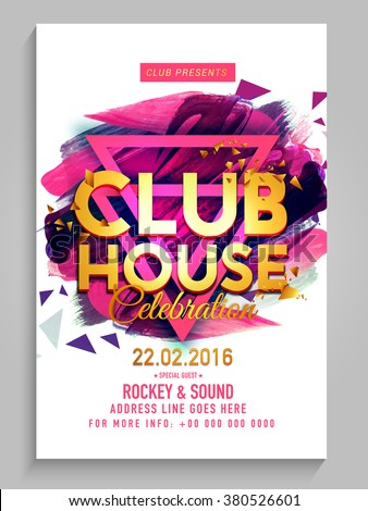 Party Flyer, Banner or Template design with golden text Club House on abstract paint strokes background. - stock vector