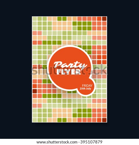 Party Flyer or Cover Design With Squared Background - stock vector