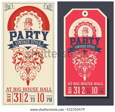 Party Flyer Template. Old Style - stock vector