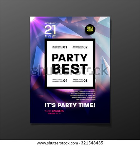 Party Flyer Template. Vector Design. Abstract Geometric Background. - stock vector