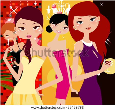 Party girls - stock vector