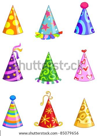 Party hat set - stock vector