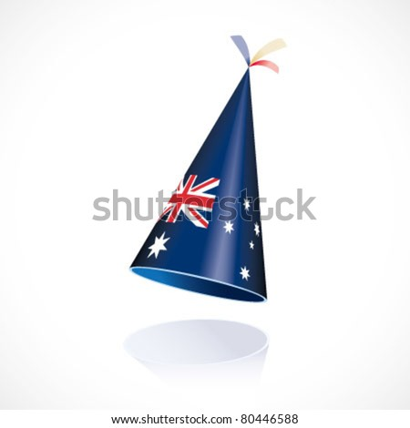 Party hat with Australia flag - stock vector