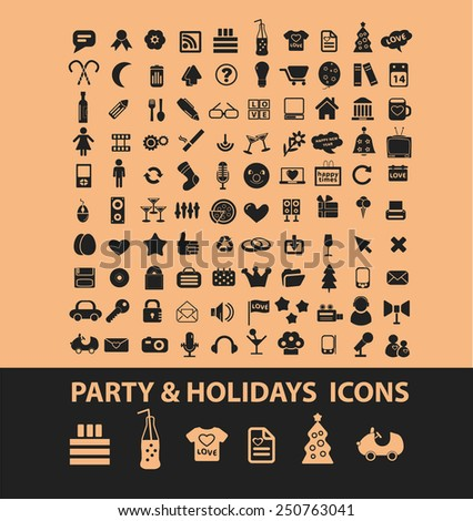 party, holidays, event icons, signs, illustrations set, vector - stock vector