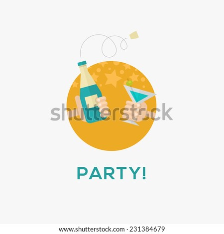 Party icon, flat design, vector illustration - stock vector