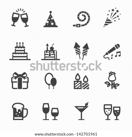 Party Icons and Celebration Icons with White Background - stock vector