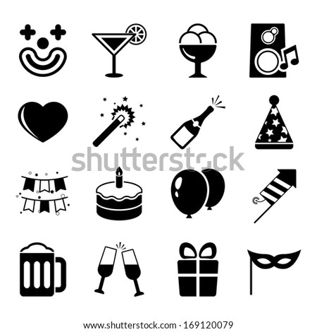 Party icons set, contrast flat isolated vector illustration