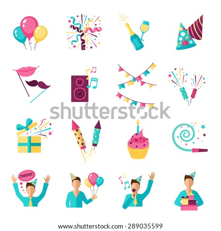 Party icons set with champagne gifts fireworks balloons isolated vector illustration - stock vector