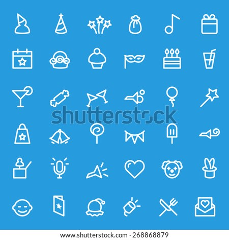 Party icons, simple and thin line design - stock vector