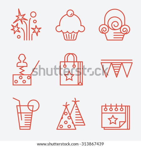 Party icons, thin line style, flat design - stock vector