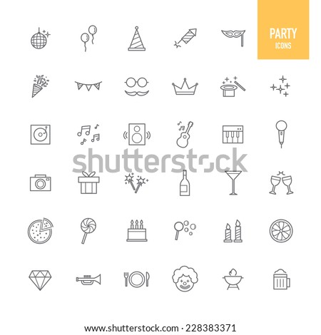 Party icons. Vector illustration. - stock vector