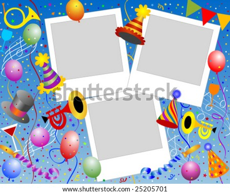 Party instant photo frame - stock vector