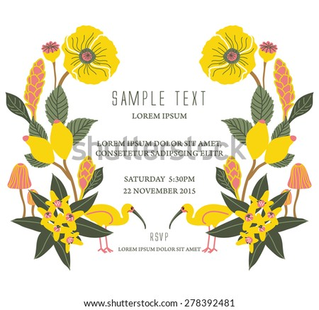 Party invitation card with flourish background - stock vector