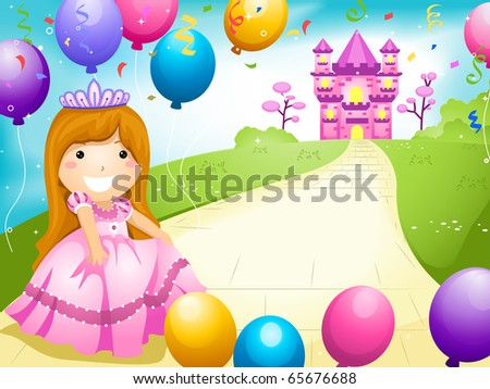 Party Invitation Featuring a Kid Dressed in a Princess Costume and Surrounded by Balloons - stock vector