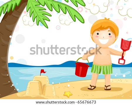 Party Invitation Featuring a Kid Playing with Sand - stock vector