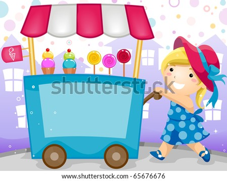 Party Invitation Featuring a Kid Pushing a Cart Carrying Candies and Ice Cream - stock vector